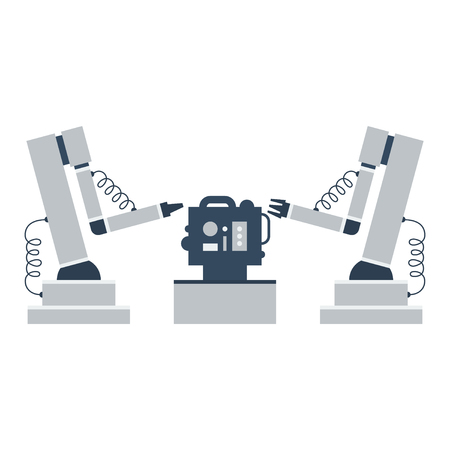 production line: Robotic assemblers Illustration