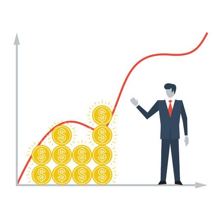 incremento: Crecimiento de la renta Vectores