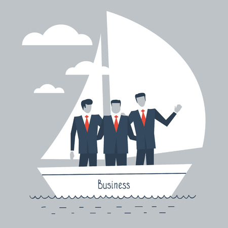 dependable: Businessmen in a boat