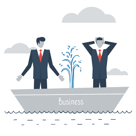 difficulties: Having difficulties in business Illustration