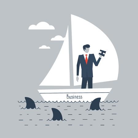 envisage: A businessman steering business Illustration