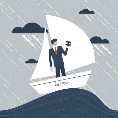 hardship: A businessman having hardship Illustration
