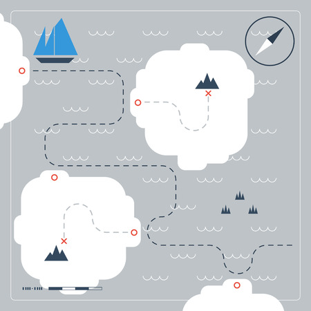 route map: Sailing map Illustration