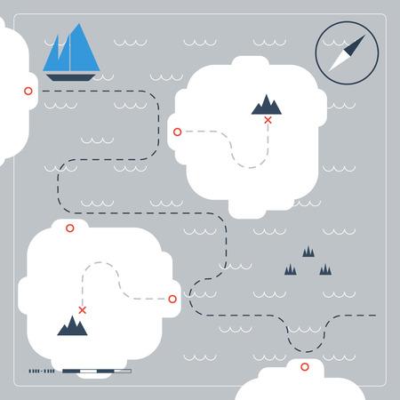 Sailing map Stock Illustratie