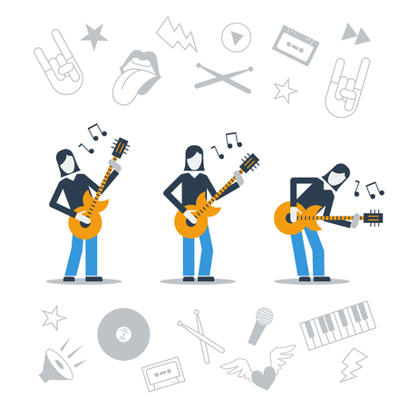 implements: Postures of a guitarist and implements