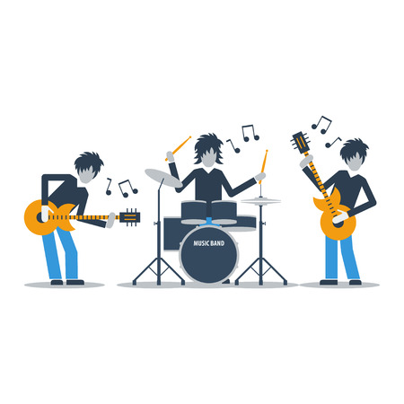 guy playing guitar: Rock music band Illustration