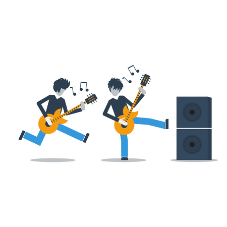 guitarists: Rock guitarists in motion Illustration