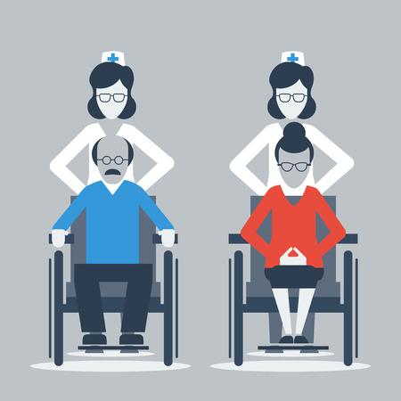 silla de ruedas: Viejo hombre y mujer en sillas de ruedas Vectores
