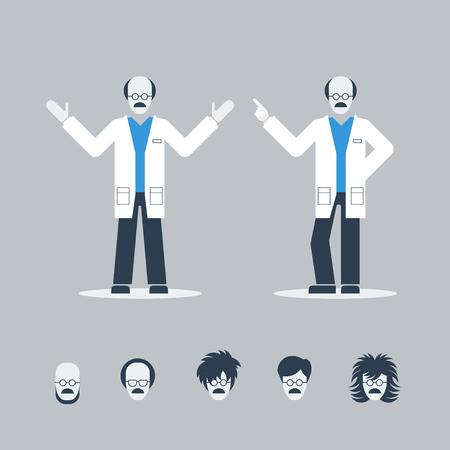 researcher: Professor or doctor Illustration