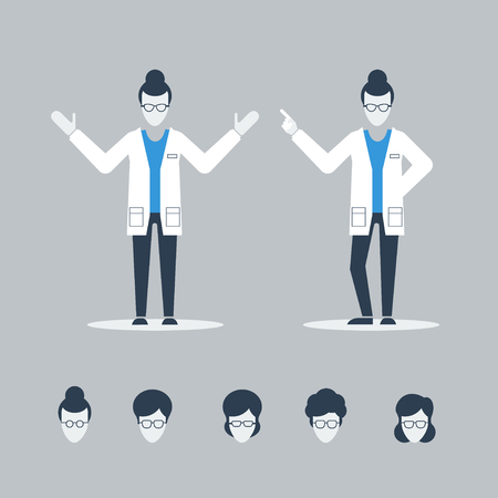 female scientist: Female doctor or scientist Illustration