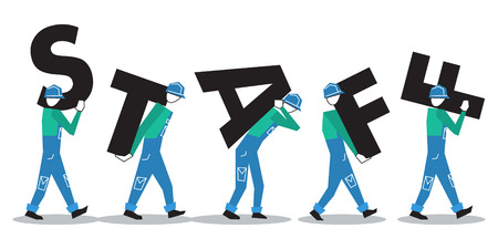 Row of workers carrying letters