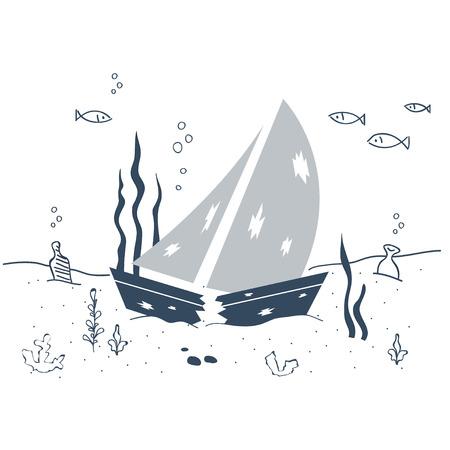 Sunken ship on the sea bottom