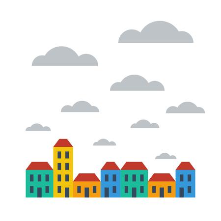 hilera: Una hilera de casas adosadas de colores brillantes