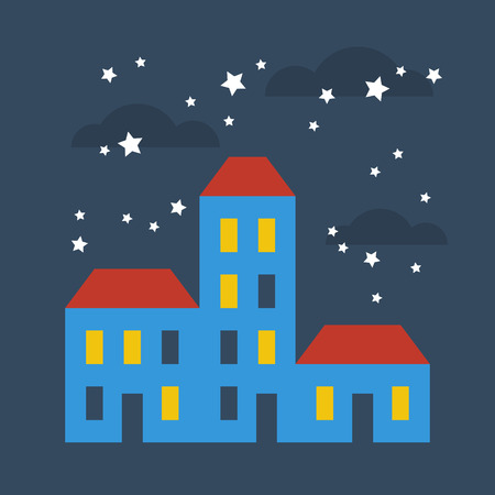 A row of terraced houses at starry night Stock Illustratie