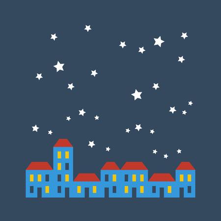 Een rij van rijtjeshuizen in sterrenhemel Stock Illustratie