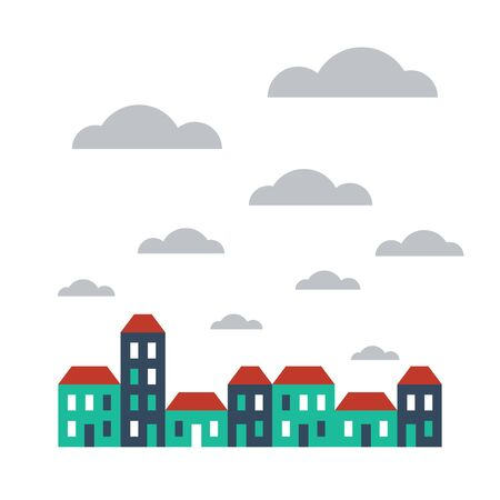 row of houses: A row of terraced houses Illustration