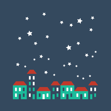 row houses: A row of terraced houses at starry night Illustration