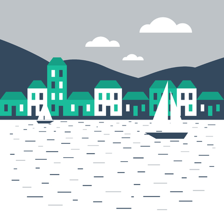 row boat: A town by the sea Illustration