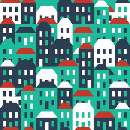 agglomeration: Seamless town pattern Illustration