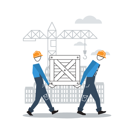 adjuster: vector flat design construction workers Illustration