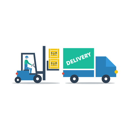to unload: delivery services Illustration