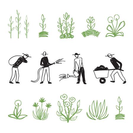 garden maintenance: Hand drawn workers