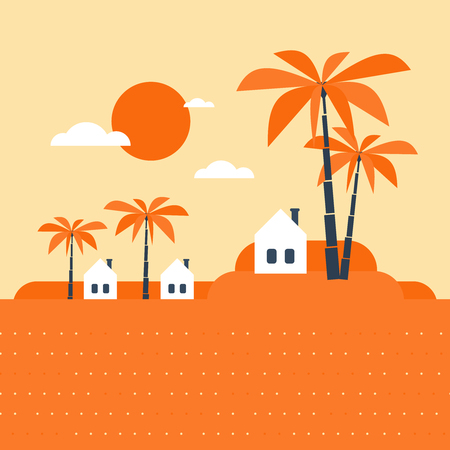 tribe: Small tribe. Tiny village in a hot southern land. Might be in Africa, Asia or Estland. Illustration