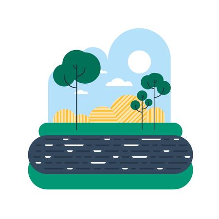 Countryside with a river bank or lake shore Illusztráció