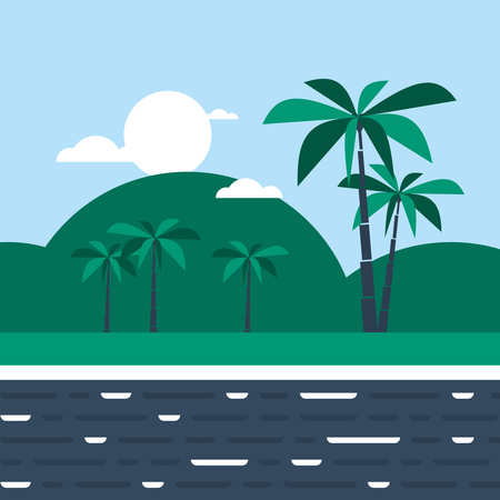 hill distant: Southern land with hills and palm trees