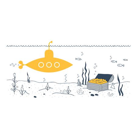 Subacuático Submarino Amarillo Y Un Cofre Del Tesoro En El Fondo Del ...