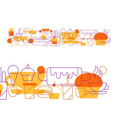 alimentos y bebidas: Collage de la comida rápida Vectores