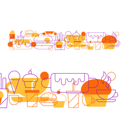 cibo: collage fast food Vettoriali