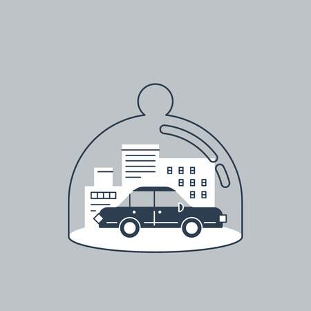 theft: Car insurance concept. Auto theft preventive measures. Linear design. Illustration