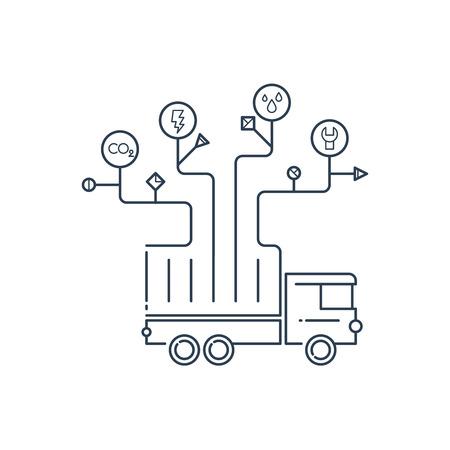 truck repair: Truck repair and maintenance service. Diagnostics. Illustration