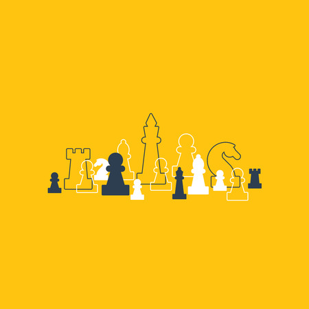 Lined up chess pieces, chess club or school, competition or strategy concept.
