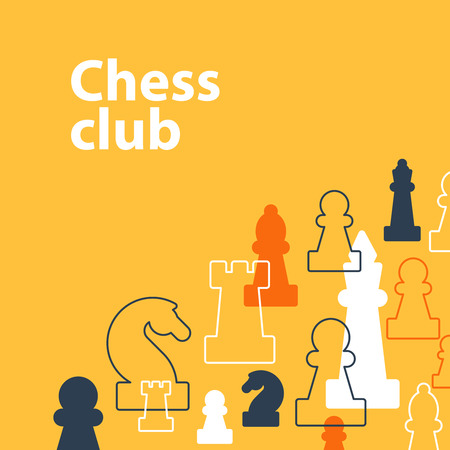 school strategy: Template with chess pieces. Chess club or school, competition or strategy concept.