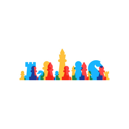 chess pieces: Lined up chess pieces, chess club or school, competition or strategy concept.