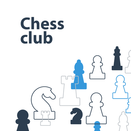 Template with chess pieces. Chess club or school, competition or strategy concept.