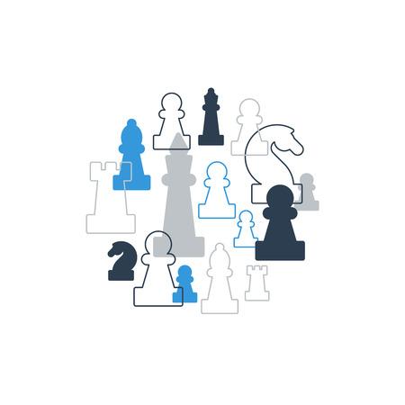 caballo de ajedrez: Collage de las piezas de ajedrez en c�rculo, club de ajedrez o en la escuela, la competencia o el concepto de estrategia. Vectores