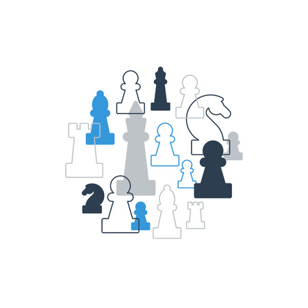 chess king: Collage of chess pieces in circle, chess club or school, competition or strategy concept.