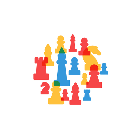 Colorful chess pieces in circle, chess club or school, competition or strategy concept. 矢量图像