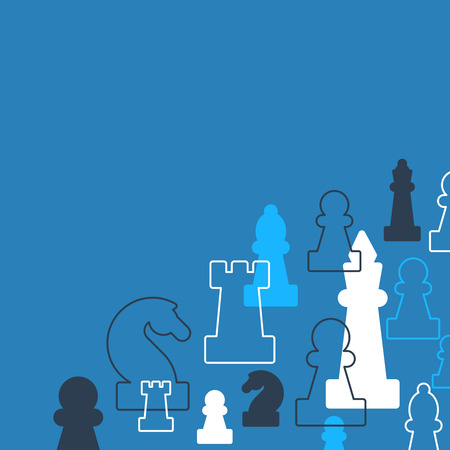 ajedrez: Plantilla con piezas de ajedrez. club de ajedrez o en la escuela, la competencia o el concepto de estrategia.