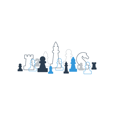 school strategy: Lined up chess pieces, chess club or school, competition or strategy concept.