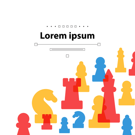 Colorful chess pieces, chess club or school, competition or strategy concept. Cover template.