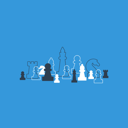 lined up: Lined up chess pieces, chess club or school, competition or strategy concept