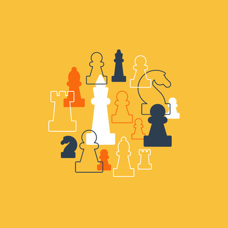 school strategy: Collage of chess pieces in circle, chess club or school, competition or strategy concept.