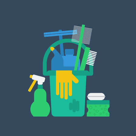 care home: Cleaning supplies. Illustration