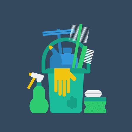 servicio domestico: Limpiando suministros.