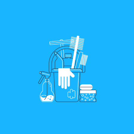 housekeeping: Cleaning supplies. Illustration