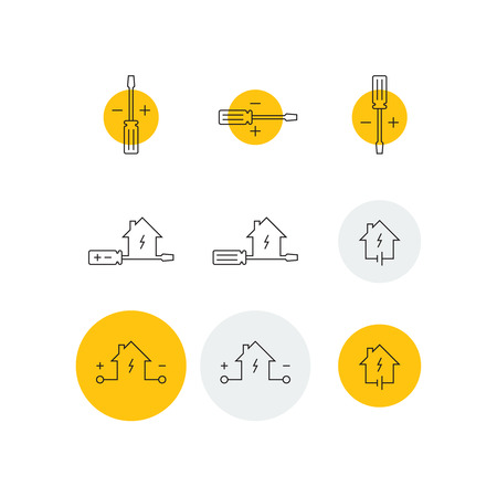 electrical contractor: Electrical service icons set